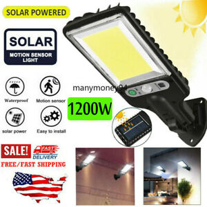 1200W LED Solar Wall Light Motion Sensor Outdoor Garden Security Street Lamp USA