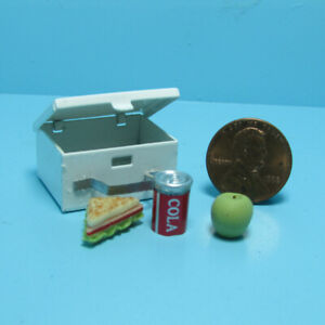 Dollhouse Miniature Metal Lunch Box with Sandwich Fruit and Soda IM65101