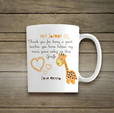 Personalised Name Ceramic Giraffe Best Teacher Mug Gift Thank You Mrs Mr School