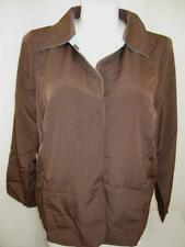 Susan Graver Size 1X Peachskin Long Sleeve Jacket with Contrast Detail Chocolate