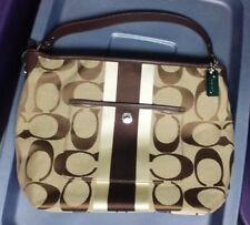 COACH 10055 HAMPTONS WEEKEND Signature Stripe Shoulder Bag Msrp $228