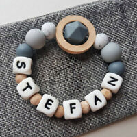 Personalised Baby Teething Bracelet Silicone Wood Beads Chew Teether Rattle Toys