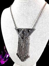 FABULOUS GOLDETTE SILVER-TONE CHAIN NECKLACE BEZEL GREY GLASS DANGLE PENDANT