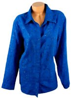Sag Harbor blue faux suede leaf embroidered long sleeves buttoned down top 2X