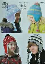 KNITTING PATTERN Children Fairisle Ear Flap Heidi Hats Aran DK King Cole 3345