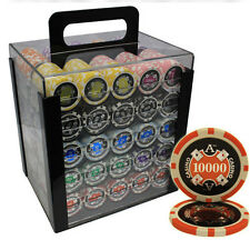 1000 14G ACE CASINO CLAY POKER CHIPS SET ACRYLIC CASE