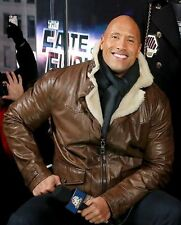 Dwayne Johnson Fast and Furious 8 Brown Fur Leather Jacket - All Sizes Available