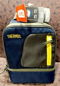 Thermos Radiance Dual Compartment Lunch Kit Navy With Yellow Trim
