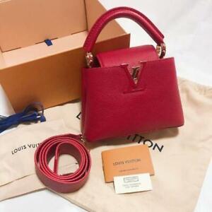 Louis Vuitton Capucines Mini Crossbody Bag Hand Shoulder Purse Red Woman LV New