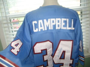 NFL HOUSTON OILERS EARL CAMPBELL # 34 THROW BACK H.O.F RB M&N SEWN JERSEY sz 58