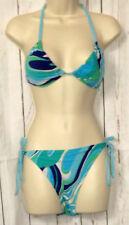 E-Vie Bikini Blue Multi Size 14 Tie Top & Bottoms