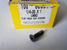 "Box of (100) 1/4-20 x 1"" Holo-Krome Allen Flat Head Cap Screws Alloy Black Oxide"