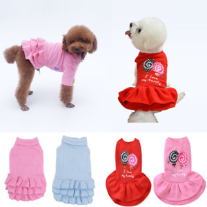 Cute Pet Cat Puppy Dog Sweater Dress Skirt Coat Small Dog Clothes Warm Clothing
