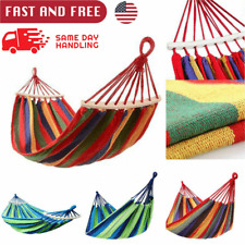 Camping Fabric Double Hammock Swing Hanging Bed Chair for Patio Garden Outdoor