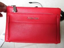 NEW Calvin Klein Fanny Pack Belt Bag Pebbled Red Faux Leather OSFA $98.00