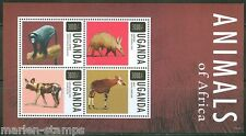 UGANDA 2014 ANIMALS OF AFRICA  MONKEY WILD DOG AARDVARK OKAPI  SHEET  MINT NH
