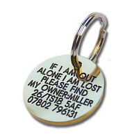 Deeply engraved solid brass dog tag, 27mm disc. Up to 6 lines on each side