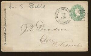 1882 Rock Springs Wyoming Territory to Grete Nebraska L S Dille Ad Cover
