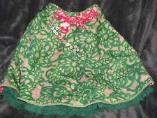 Oilily Silk Twirly Green Pink Floral Girl Skirt 140