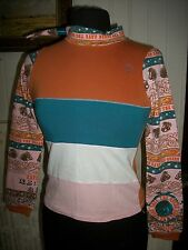 HAUT TOP Tee SHIRT coton orange/turquoise stretch SAVE THE QUEEN 12 ans CICUS