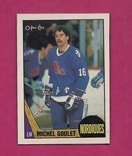 RARE 1987-88 OPC NORDIQUES MICHEL GOULET BLANK BACK BOX BOTTOM CARD (INV#6025)