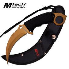 "9.84"" Fixed Blade Karambit Knife Tactical Mtech Sheath Full Tang Combat Gd"