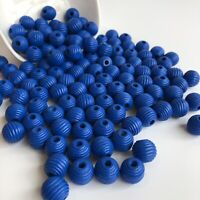 25X Beehive Style Wood Beads 14mm Round Wooden Macrame Craft Dark Blue Bead
