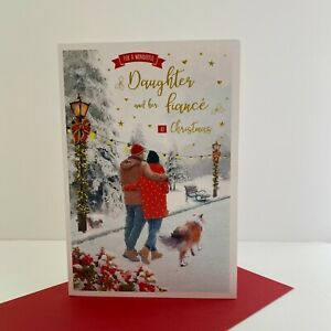 ICG Special Daughter And Finance Christmas Card Couple Walking Dog/X5048