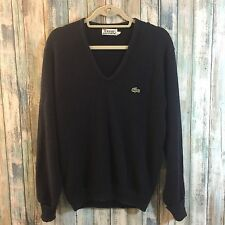 Vintage Classic Izod Lactose Navy Blue V-Neck Sweater Size Large