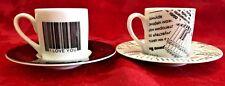 "VTG Konitz ""I love You"" and ""Newspaper"" Tea Espresso 2 Cup & Saucer Set Germany"