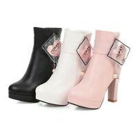 Women Platform High Heel Strap Dress Shoes Autumn Fashion Ankle Boots Round Toe