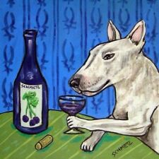 bull terrier At The Winebar Dog Art Tile Tiles Coasters Gift Gifts