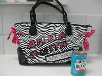 ANNA SMITH NEW YORK tote under shoulder PET CARRIER ZEBRA PRINT SEQUIN HANDBAG