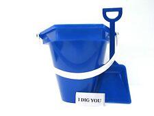 1 Small Blue Beach Sand Bucket- Shovel - I Dig You Sticker Made in USA No Bpa*