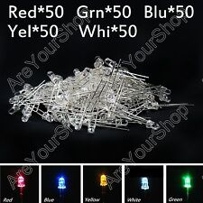 250Pc 3mm Emitting Diode Red Yellow Blue Green White 5Color Water Clear LED Kits