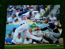 DODGERS TOP PROPECT AUSTIN BARNES SIGNED MLB DEBUT 8X10 PHOTO DSC PRIVATE SINING
