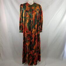 Vintage S Velour Housecoat Caftan Robe Loungewear Ruth Norman Green Gold Orange