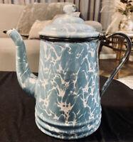 Antique Blue Swirl Enamelware Coffee Pot Granite Ware Enamel Pitcher