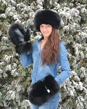 Genuine Saga Furs Black Fox Fur Handmade Mittens Gloves