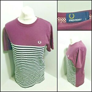 Fred Perry Men Small Purple T-shirt Striped Bottom Cotton Very Good
