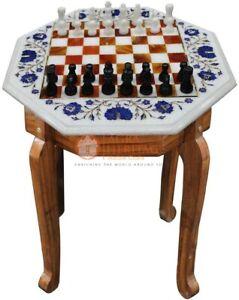 Marble White Handmade Chess Indoor Game Chess Set Board Carnelian Mosaic Inlaid