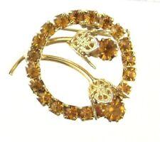 VTG Honey Topaz Colored Rhinestone Floral Circle Pin Goldtone Open Work