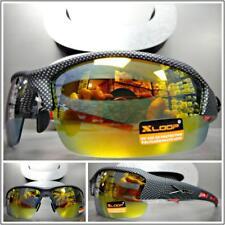 08fb0caa4c7 Men WRAP AROUND SPORT CYCLING FISHING SUN GLASSES Carbon Fiber Frame Mirror  Lens