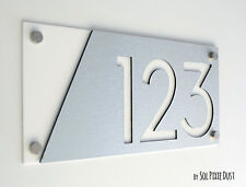 Modern House Numbers, Alucobond with White Acrylic - Contemporary Home Address