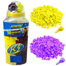 500 Water Balloons Yellow/Purple Bottle Bomb & 2 Hose Filler Nozzles Kids Party