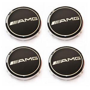 4X Alloy Wheel Centre Caps For Mercedes Benz AMG Badges Hub Emblem A C E S Class