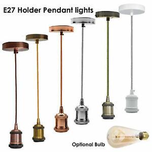 Vintage E27 Ceiling Pendant Cord Flex Hanging Lamp Holder Light Bulb Fitting Kit
