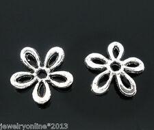 100 Antiksilber Blumen Spacer Perlen Endkappen Für Schmuck DIY 11x11mm