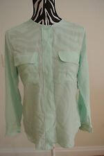 3733b05aaa7cbe .ladies Equipment Ice Green Color Bottoed Chest Pockets Long Sleeve Blouse  XS .