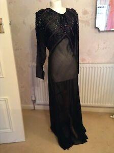 1930s ORIGINAL VINTAGE BLACK BEADED EVENING DRESS